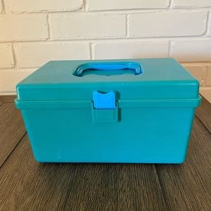 Vintage Wil Hold Blue Sewing Box w/ Bobbin Tray